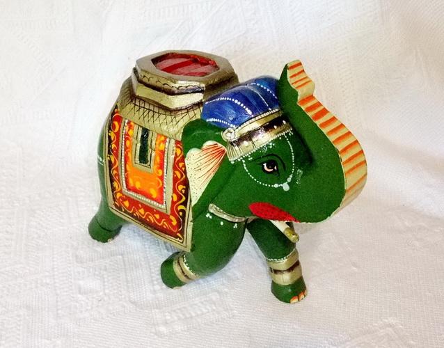 Eléphant Indien Peint Jn3-053, Décoration Indienne, Meubles Inde