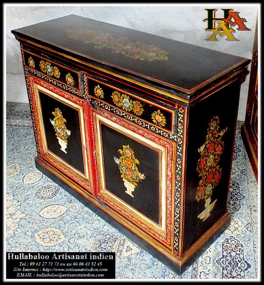 buffet indien peint jn6 la72 meubles indiens d co indienne. Black Bedroom Furniture Sets. Home Design Ideas