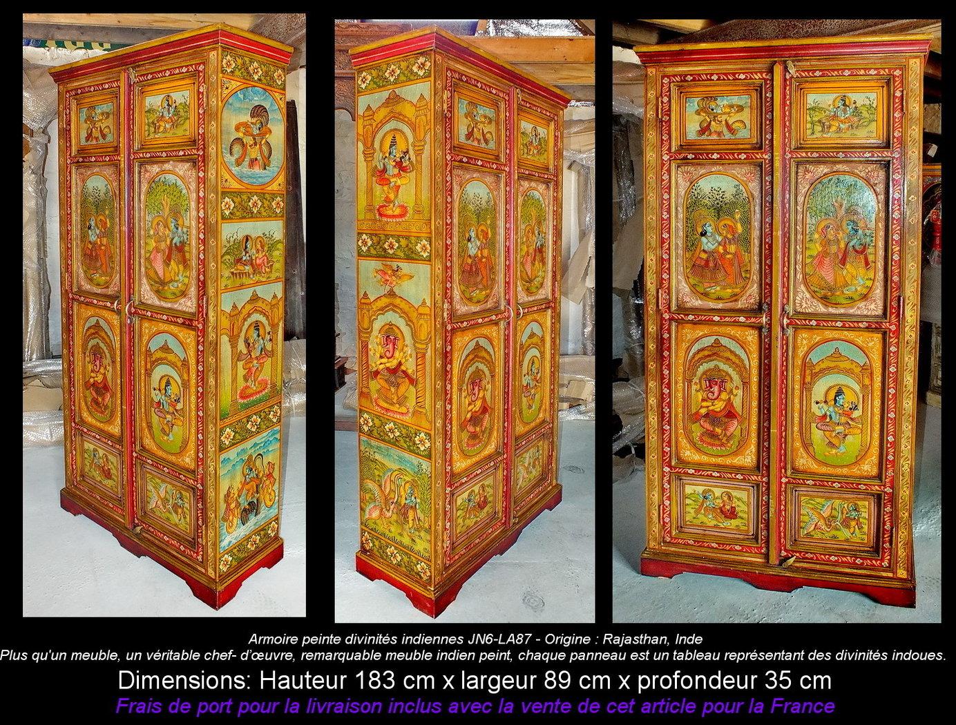Armoire peinte divinit s indiennes jn6 la87 meubles indiens for Ameublement japonais