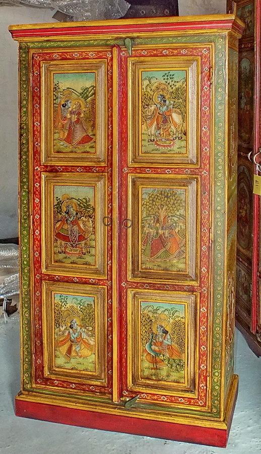 Armoire peinte divinit s indiennes jn6 la97 meubles indiens for Meuble peint