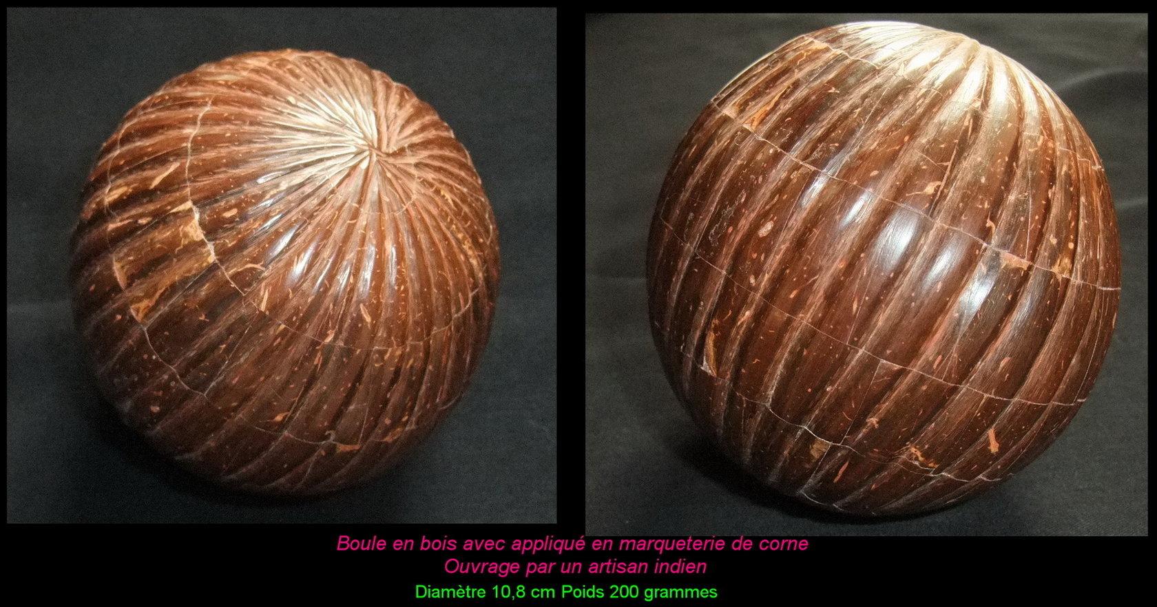Marqueterie corne sur boule en bois 2 18 Impressionnant Meuble Tv En Bois Exotique Phe2