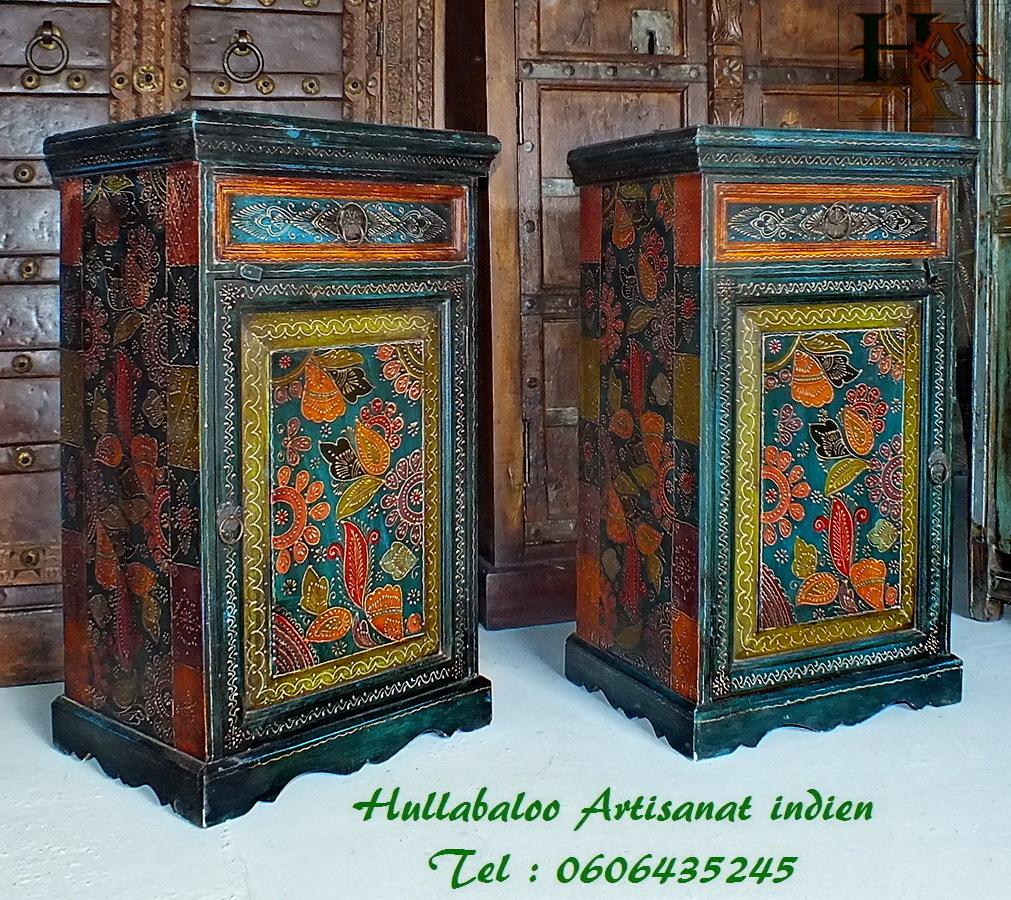 Chevets peints emboss s jn7 la070 meubles indiens - Meubles indiens peints ...