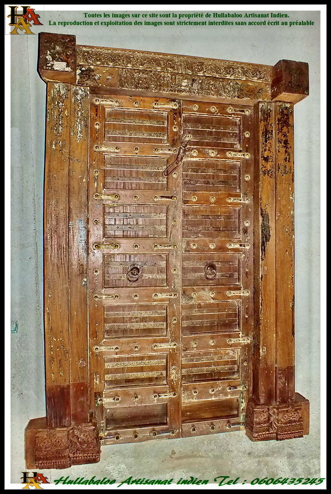 Porte indienne ancienne jn7 la178 meubles indiens d co for Decoration porte indienne