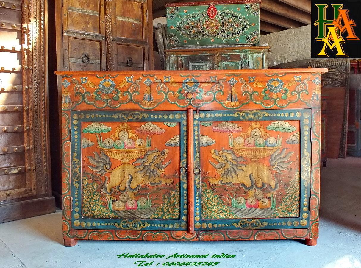 Buffet peint style tib tain jn7 la205 meubles indiens for Meuble tibetain