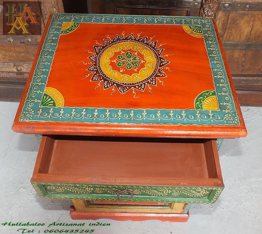 Chevets peints emboss s jn7 la522 meubles indiens d co indienne - Meubles indiens peints ...