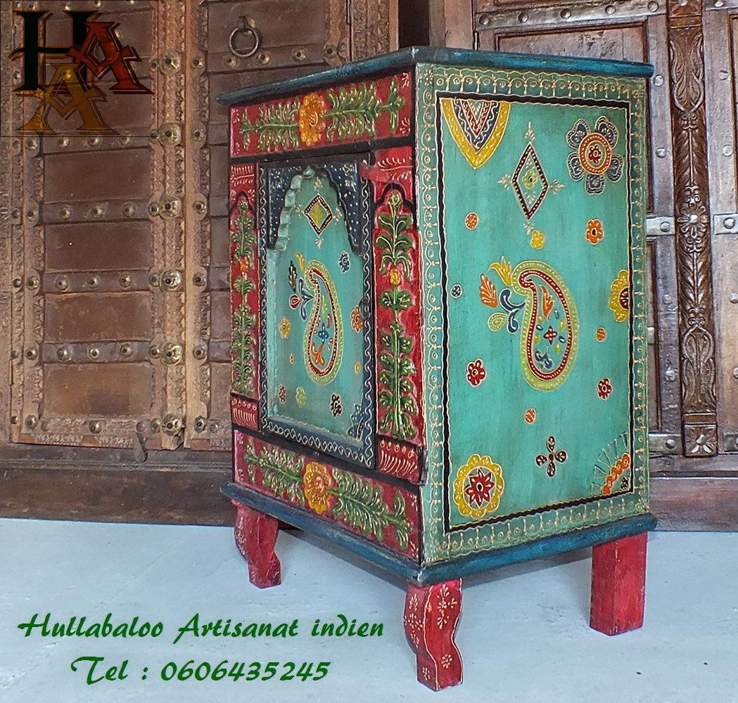 chevet peint emboss jn7 la523 meubles indiens d coration inde. Black Bedroom Furniture Sets. Home Design Ideas