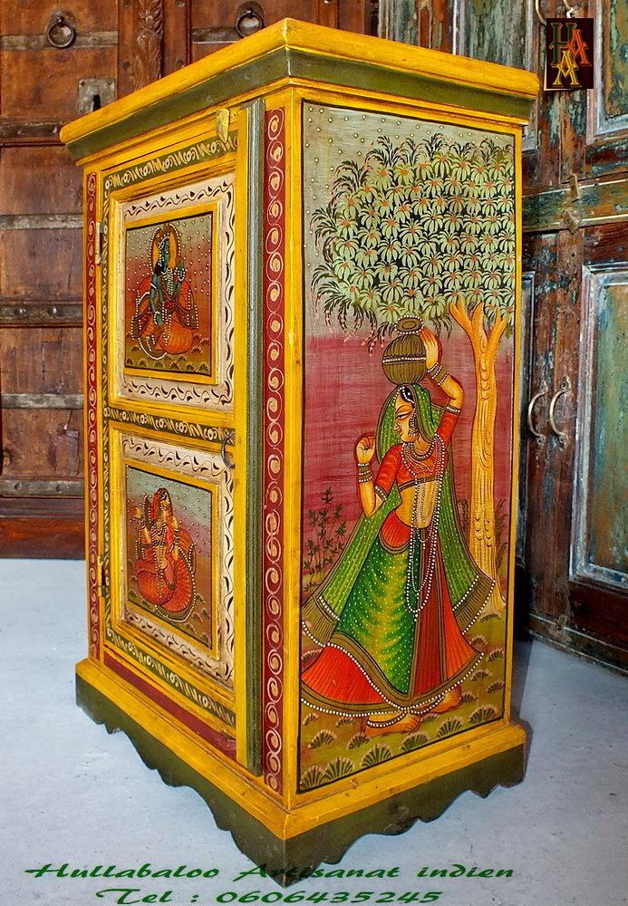 Chevet peint emboss jn7 la526 meubles indiens - Chevet indien ...