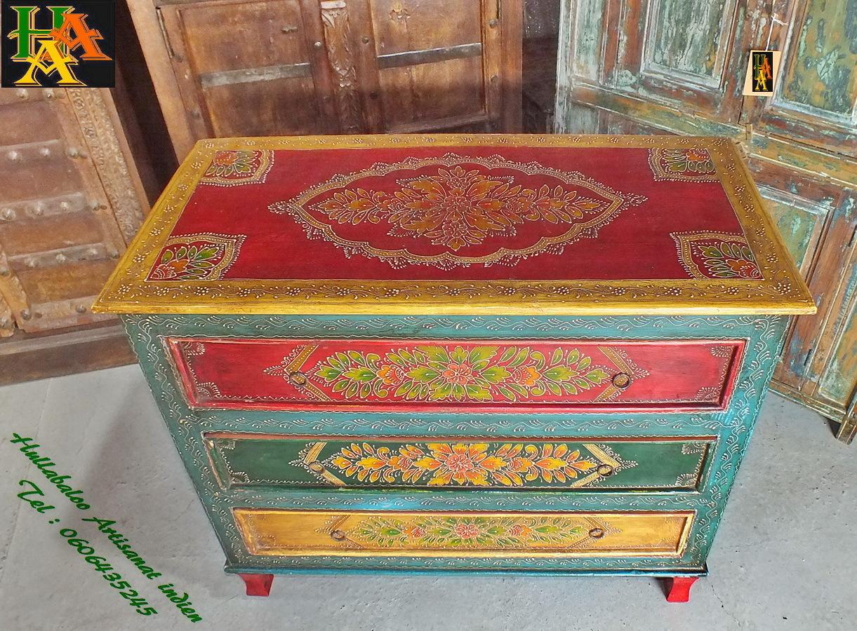 Commode peinte emboss e jn7 la529 meubles indiens d coration for Decoration meuble peint