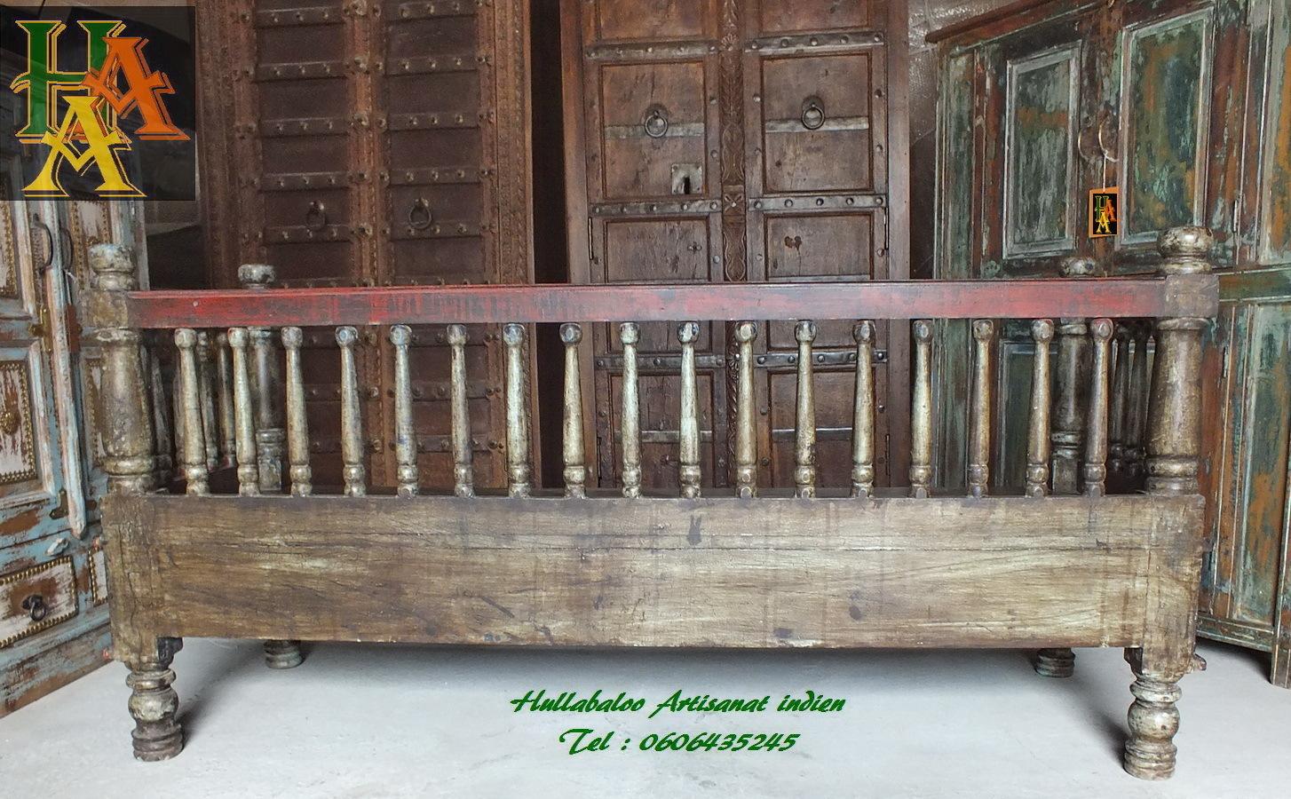Banc vieux banc indien jn7 la628 meubles indiens bancs inde for Meubles indiens anciens