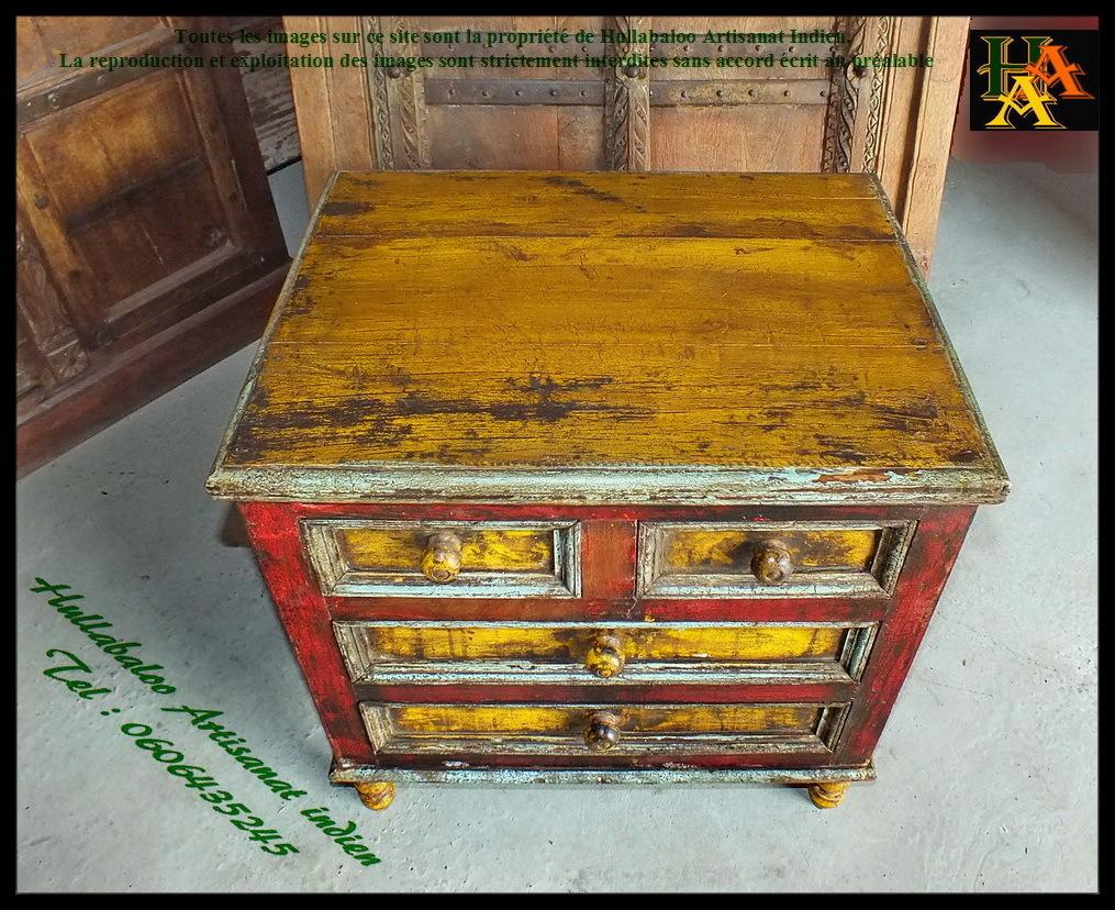 Meuble bas 4 tiroirs jn7 la631 meubles indiens meuble for Meubles indiens anciens