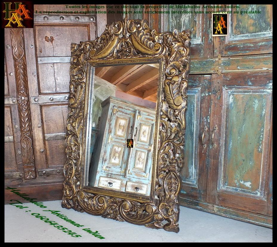 Miroir avec cadre en bois dor jn7 la633 meubles indiens for Miroir cadre bois