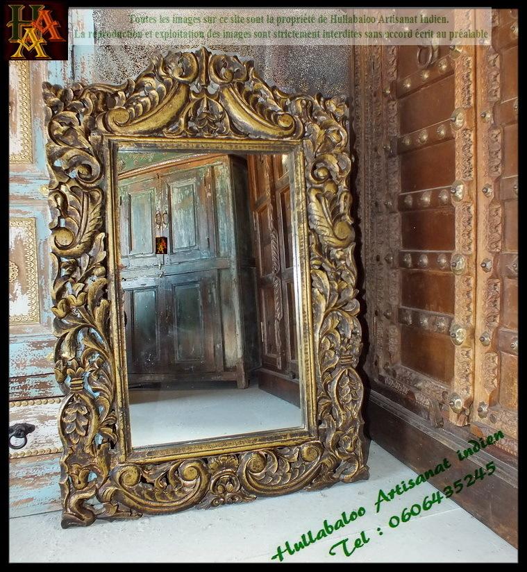 Miroir avec cadre en bois dor jn7 la633 meubles indiens for Meuble indien