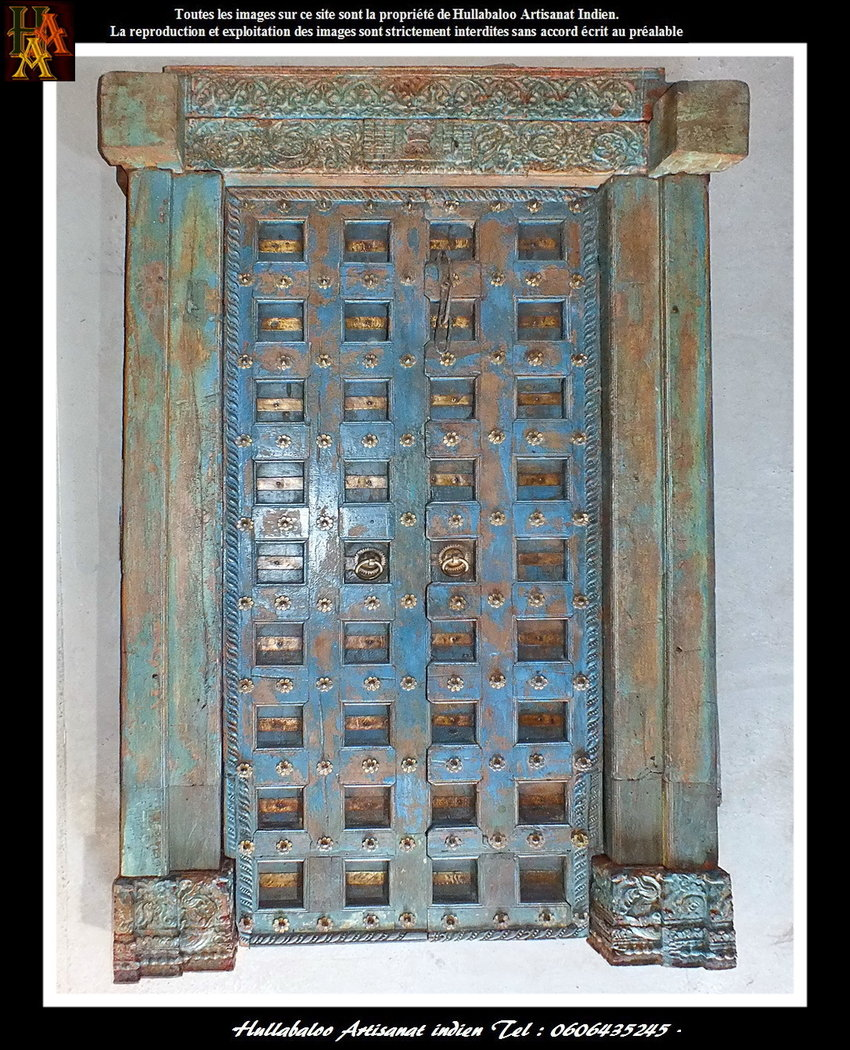 Porte ancienne bois massif jn7 la637 meubles indiens d coration - Porte ancienne bois ...