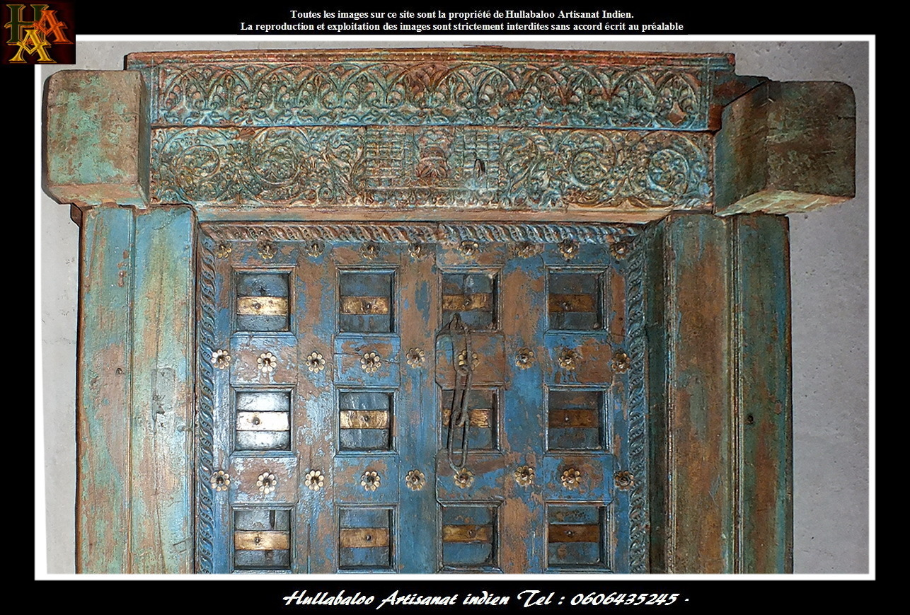 Porte ancienne bois massif jn7 la637 meubles indiens for Decoration porte indienne