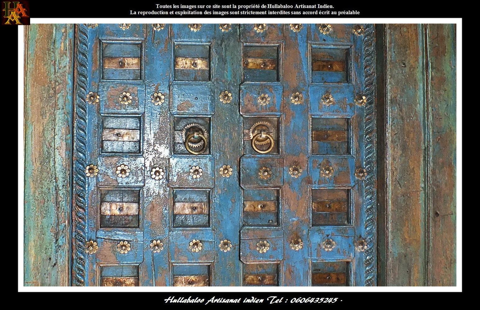 Porte ancienne bois massif jn7 la637 meubles indiens for Decoration porte bois