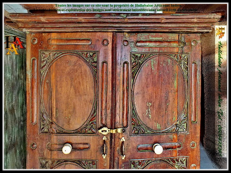 Armoire ancienne indienne jn7 la666 anciens meubles indiens - Armoires anciennes peintes ...
