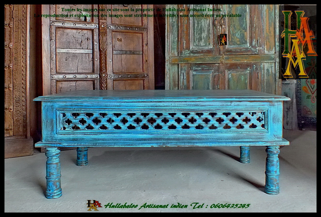 Table basse indienne jn7 la684 meubles indiens table de for Meubles indiens pas cher