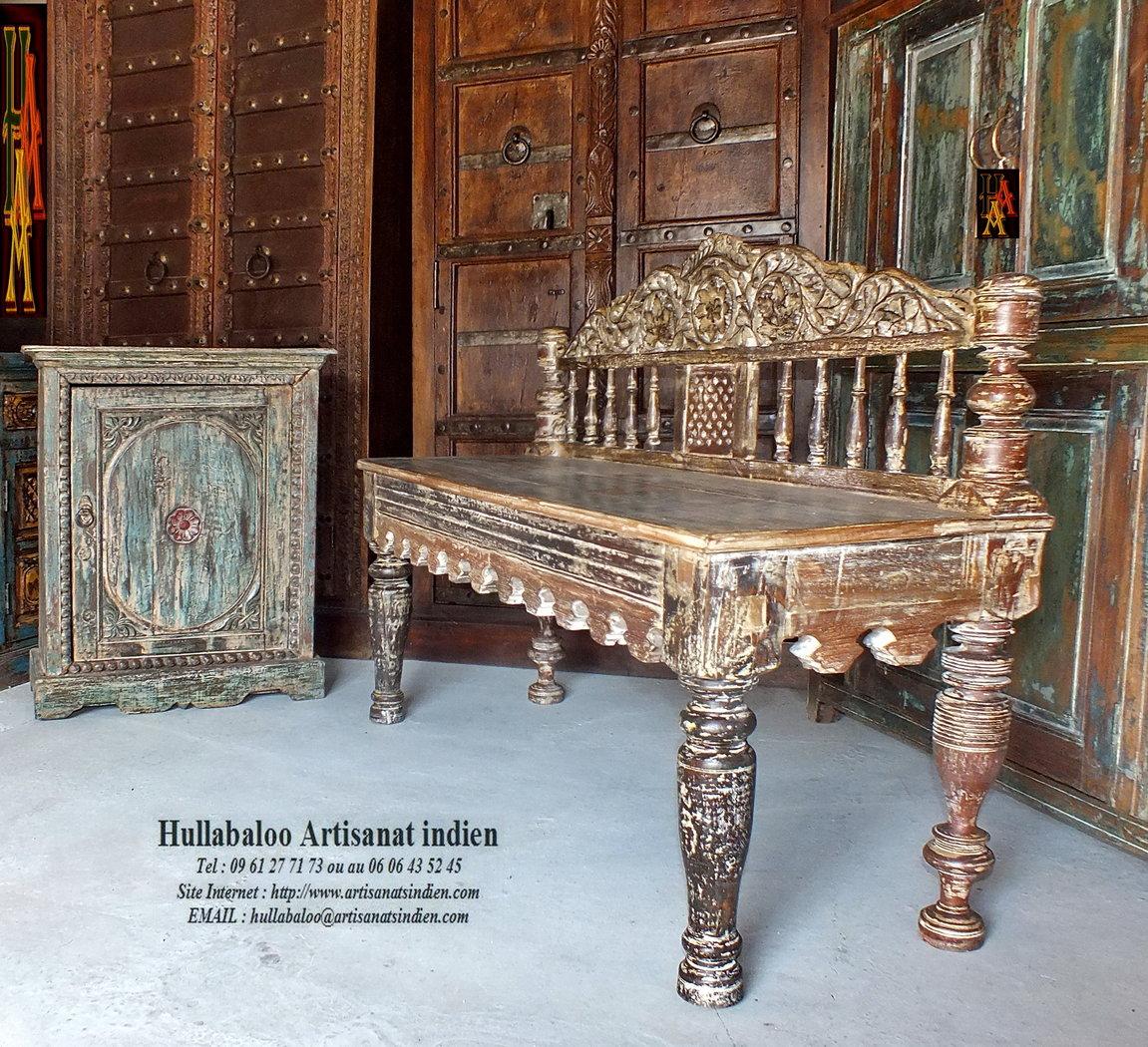 Banc indien ancien jn7 la688 meubles indiens banquette for Meuble indien