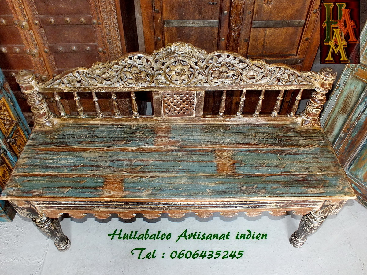banc indien ancien jn7 la688 meubles indiens banquette indienne. Black Bedroom Furniture Sets. Home Design Ideas