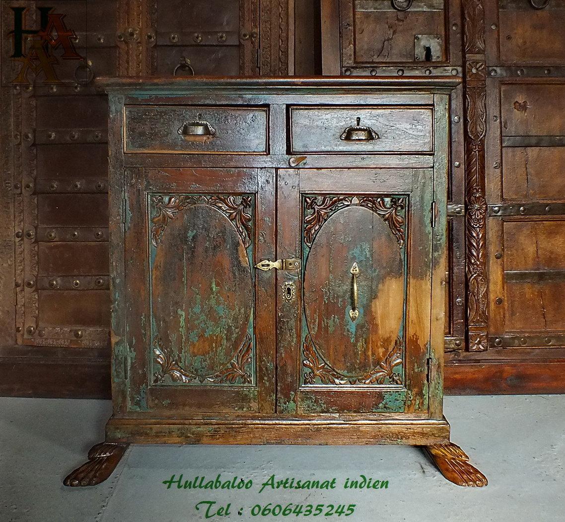 Meuble ancien teck jn7 la696 meubles indiens artisanat indien - Meuble peint ancien ...