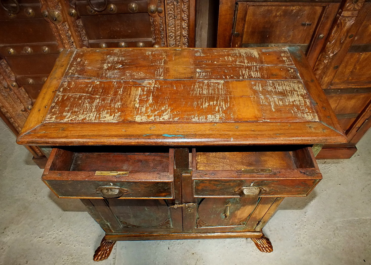 Meuble ancien teck jn7 la696 meubles indiens artisanat for Meuble ancien