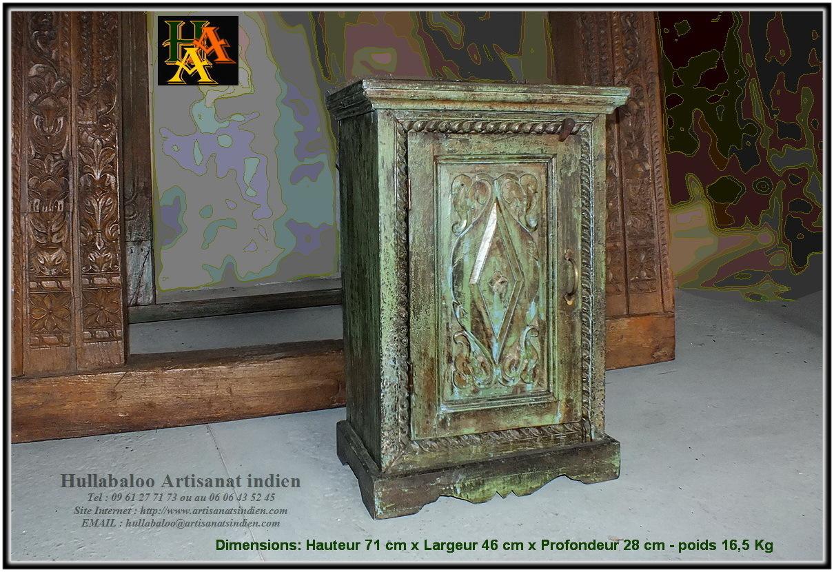 Chevet indien bois massif jn8 la003 meubles indiens - Chevet indien ...