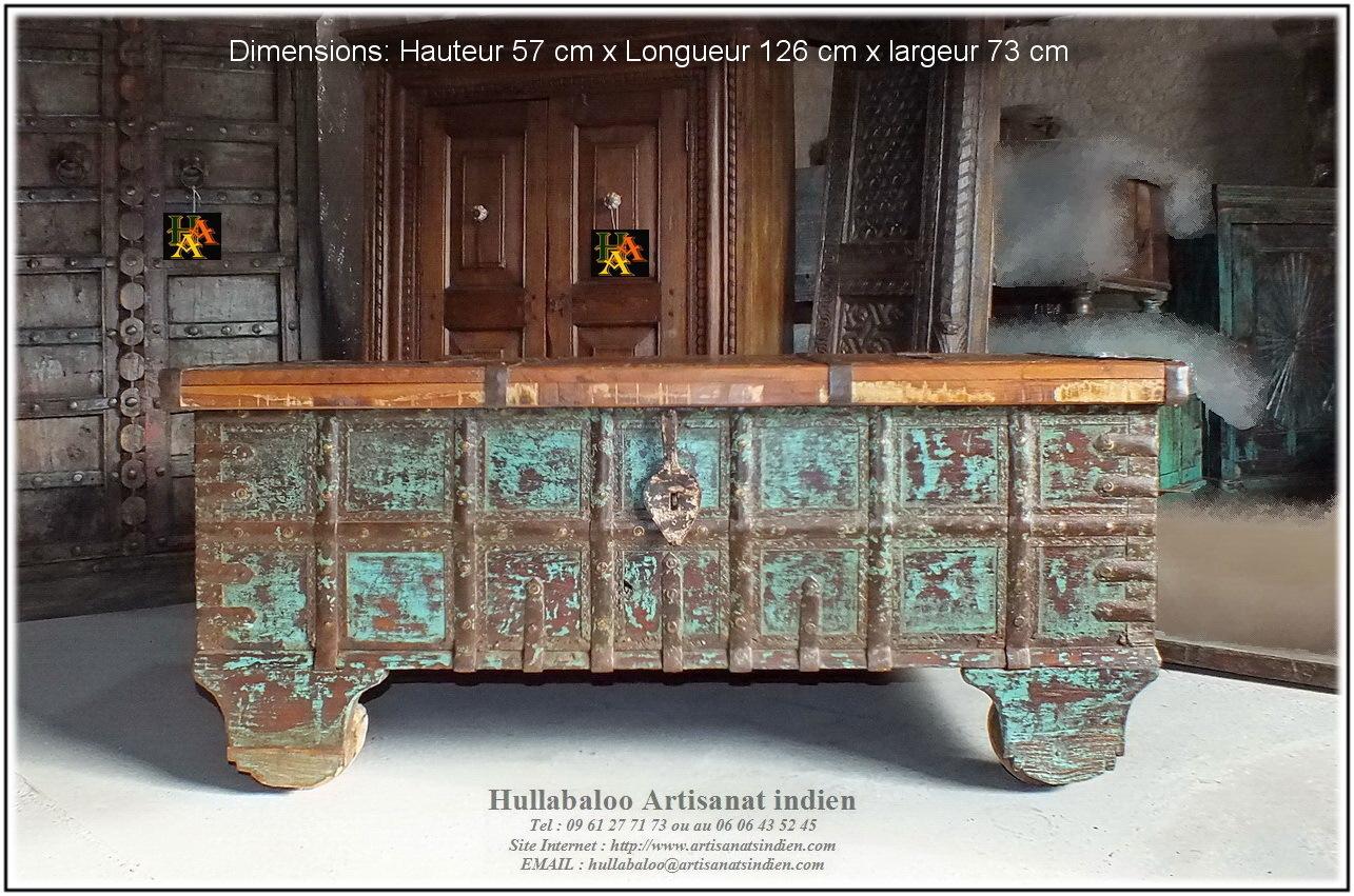 Coffre indien sur roues jn8 la022 meubles indiens d coration for Meuble indien