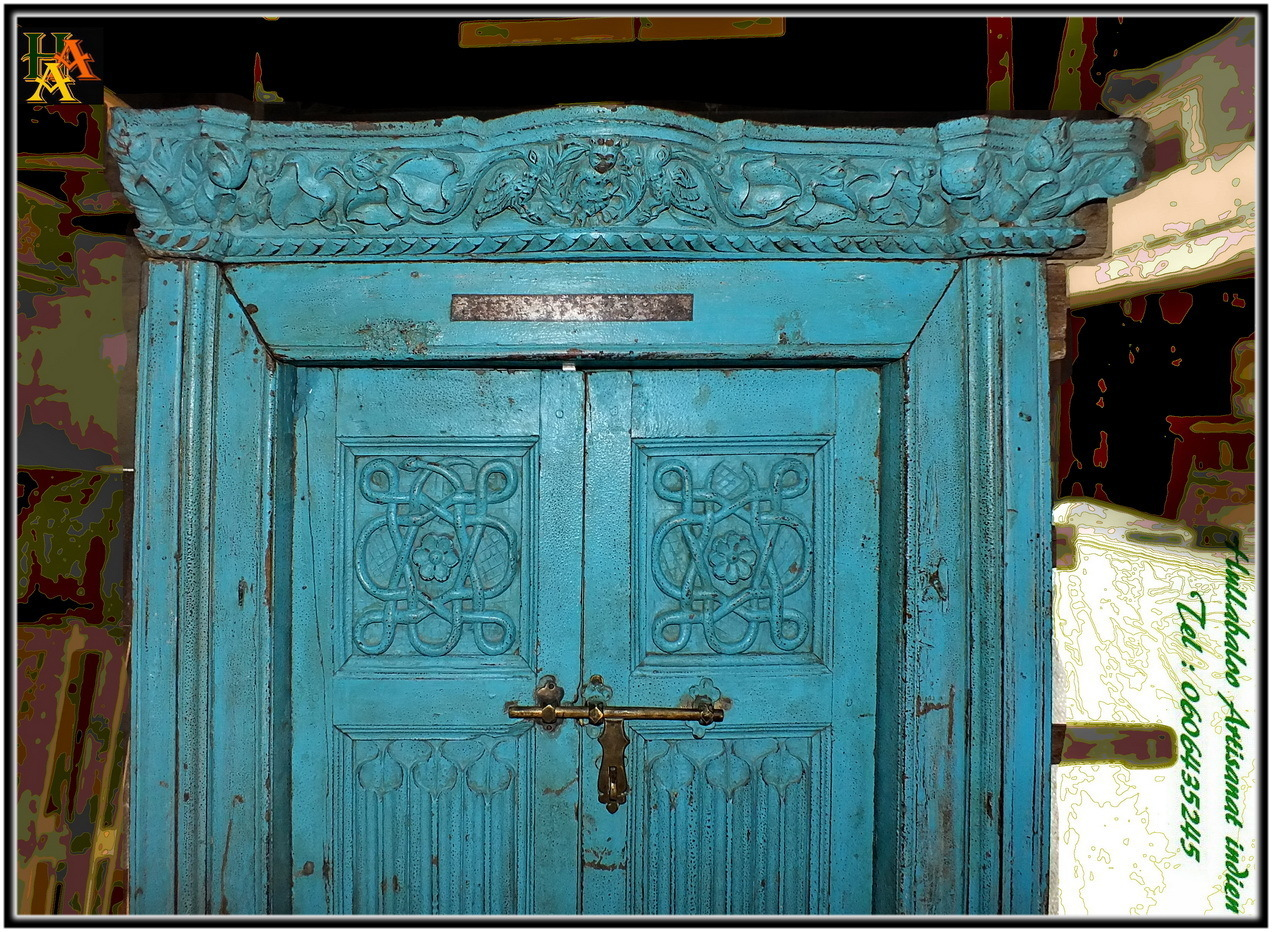 Porte indienne ancienne jn8 la059 d coration int rieure for Decoration porte indienne