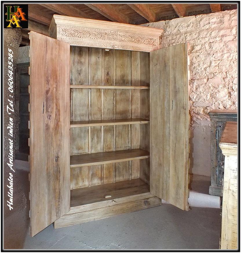 Armoire portes sculpt es jn8 ca11 meubles indiens d coration for Decoration porte armoire