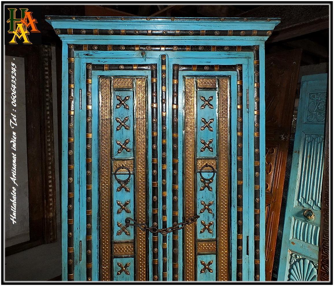 armoire bois massif manguier laiton jn01 la211 meubles. Black Bedroom Furniture Sets. Home Design Ideas