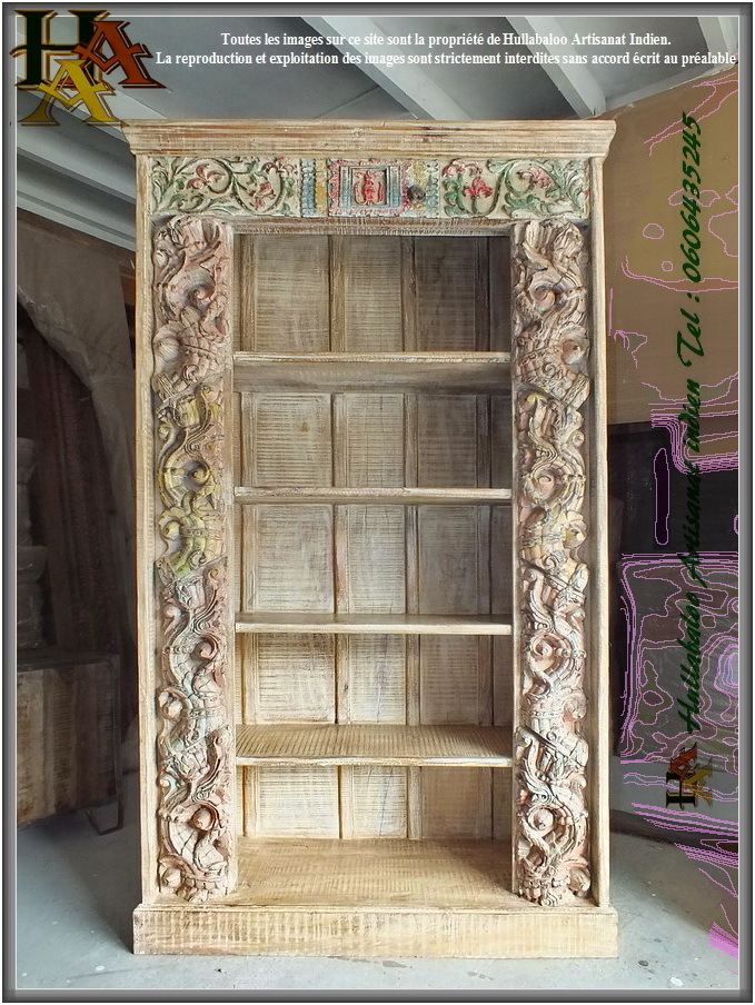 bibliotheque bois massif jn9 ca20 meubles indiens decoration With meuble en manguier massif 3 bibliothaque bois massif jn9 ca20 meubles indiens decoration