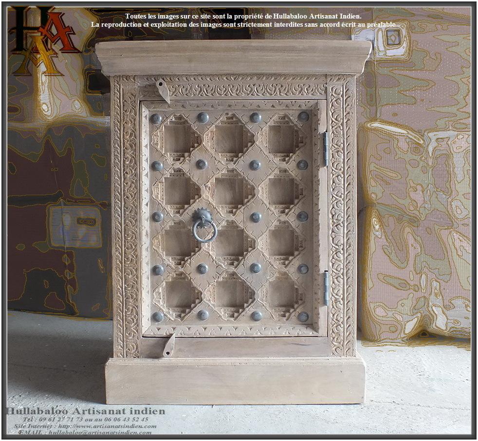 Chevet porte sculpt e jn9 ca4c meubles indiens artisan - Chevet indien ...