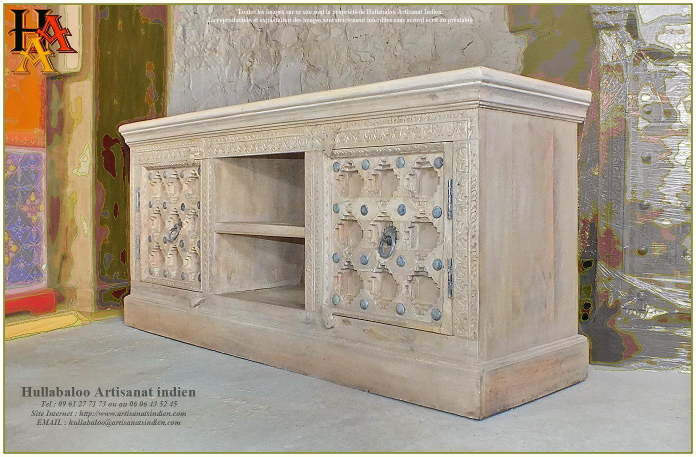 Meuble bas tv jn9 ca19 meubles indiens artisanat de for Grand meuble bas tv