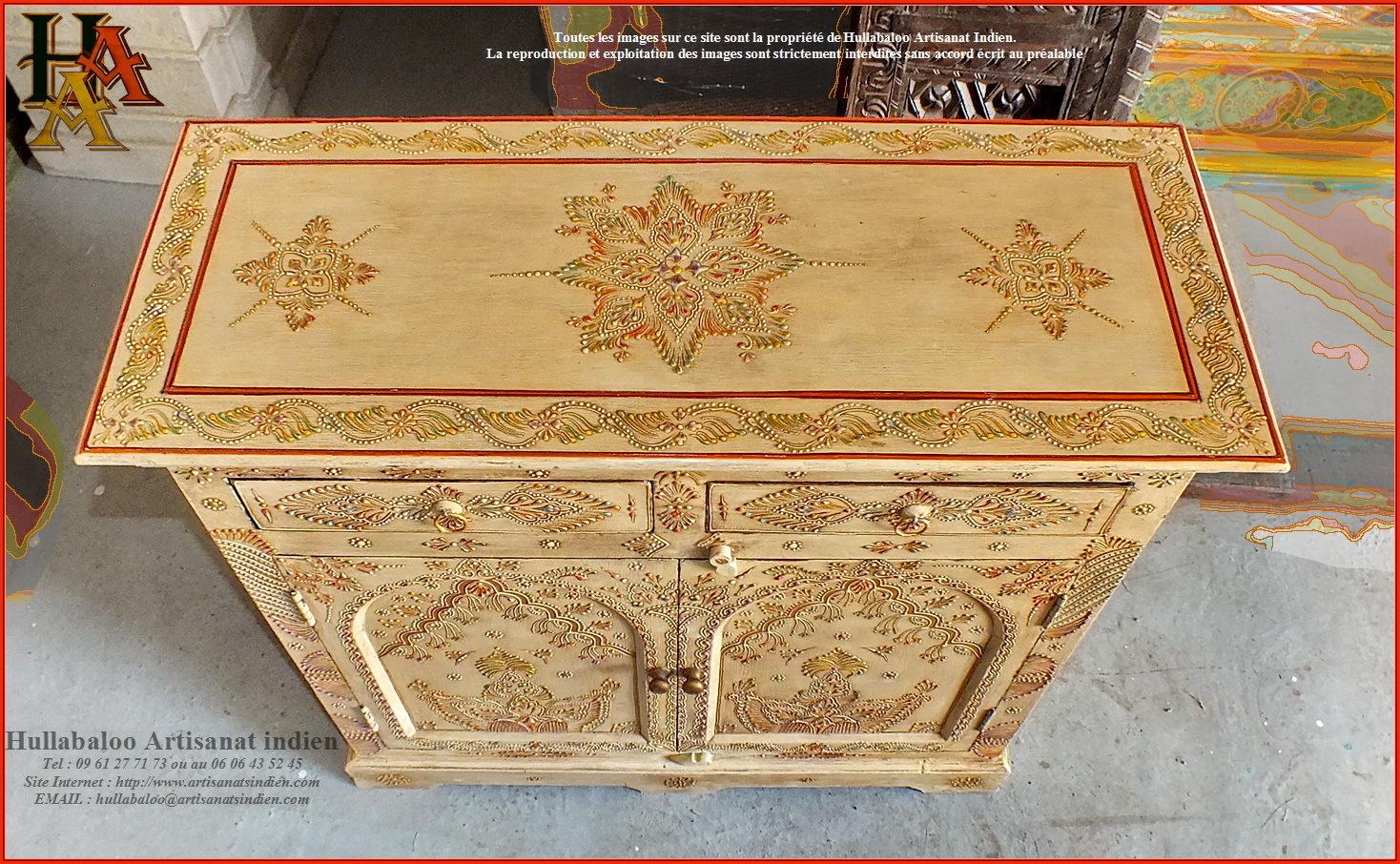 Buffet indien peint jn9 cav34 meubles indiens artisanat d 39 asie - Meubles peints indiens ...