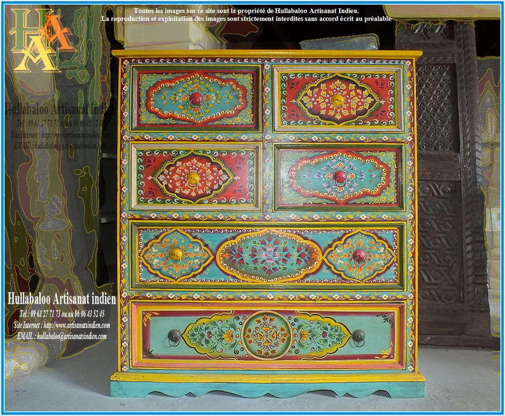 Commode Indienne Peinte Jn9 Cav35 Meubles Indiens Artisanat
