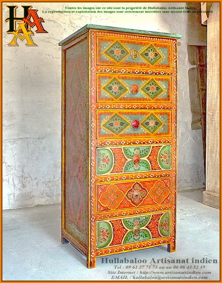 chiffonnier indien peint jn9 cav36 meubles indiens artisanat. Black Bedroom Furniture Sets. Home Design Ideas
