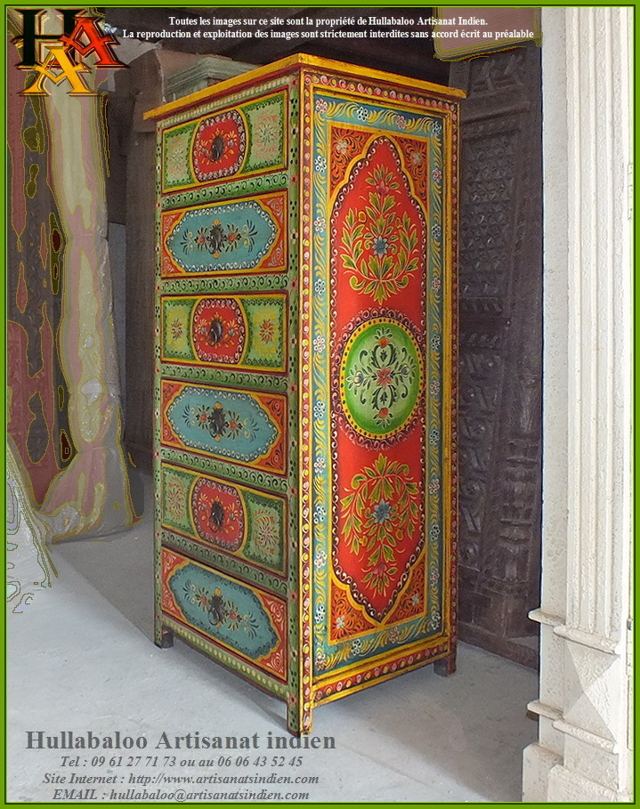 chiffonnier indien peint jn9 cav37 meubles indiens artisanat. Black Bedroom Furniture Sets. Home Design Ideas