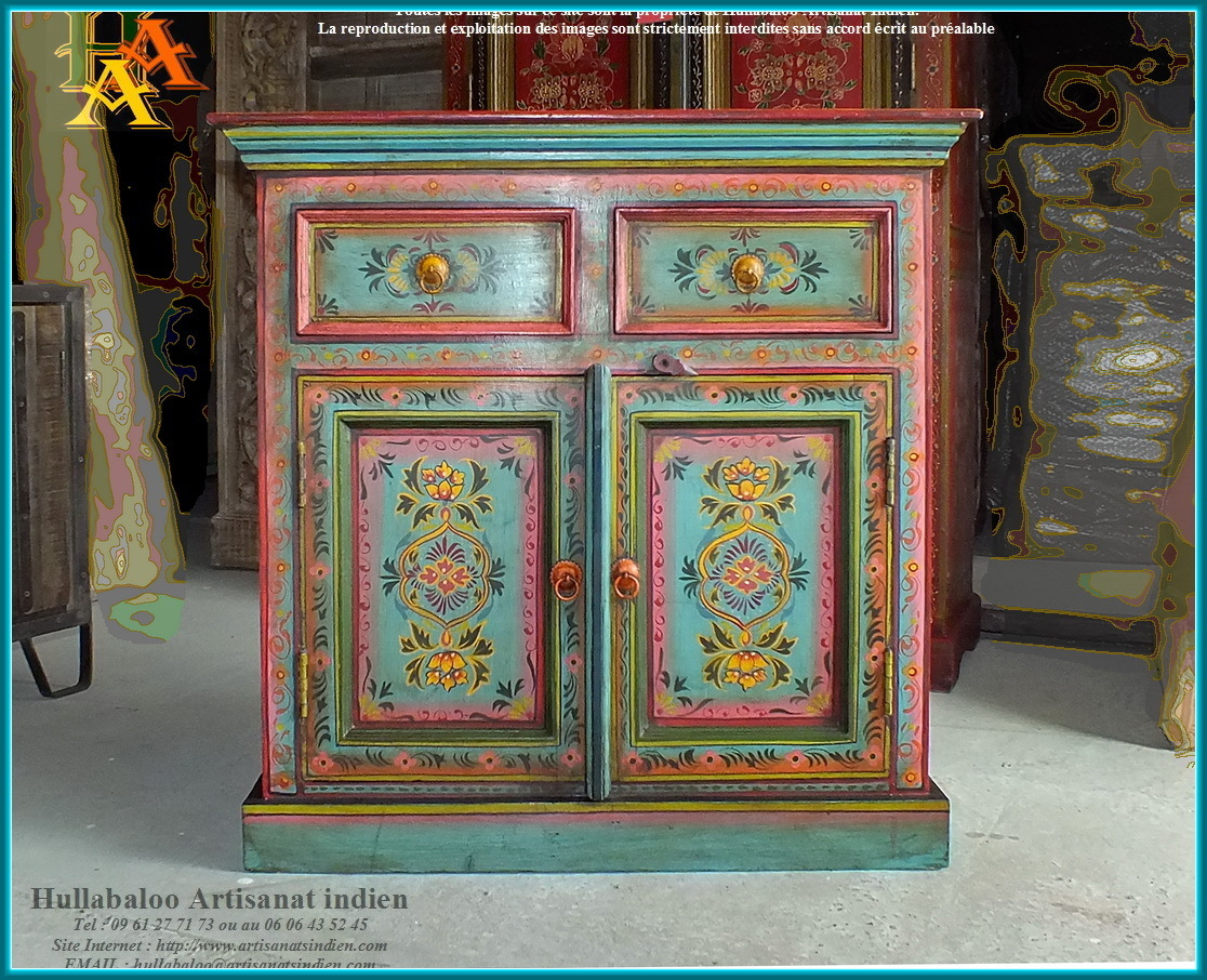 Buffet indien peint jn9 cav39 meubles indiens artisanat for Les artisans du meuble