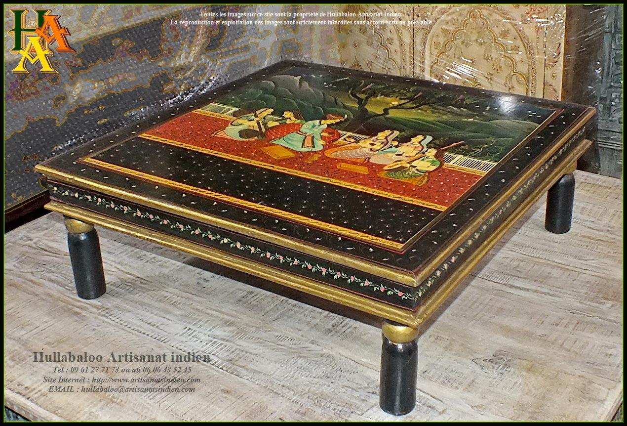 Table basse bajot peinte jn9 cav40 meubles indiens - Table basse peinte ...