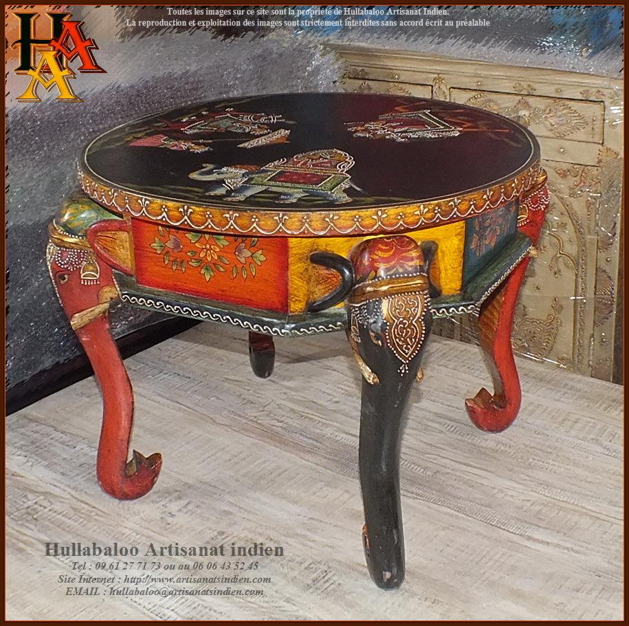 table basse ronde peinte jn9 cav41 meubles indiens artisanat. Black Bedroom Furniture Sets. Home Design Ideas