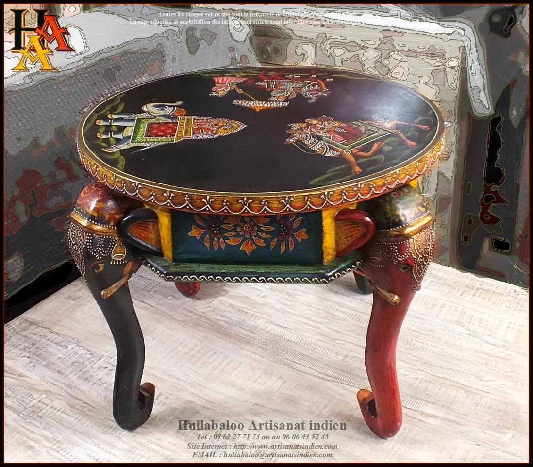 Table basse ronde peinte jn9 cav41 meubles indiens - Table basse peinte ...