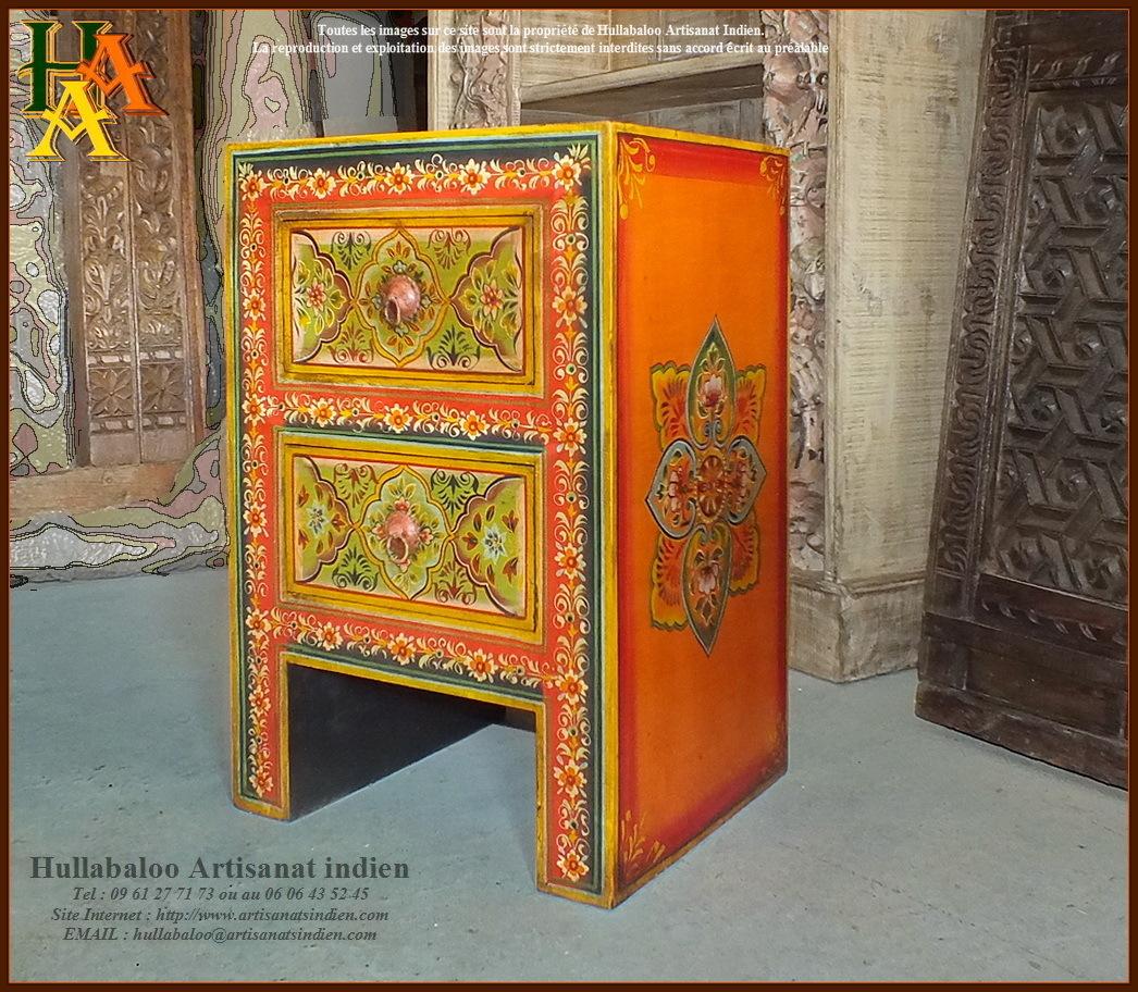 Chevet indien peint jn9 cav42 meubles indiens artisanat - Chevet indien ...