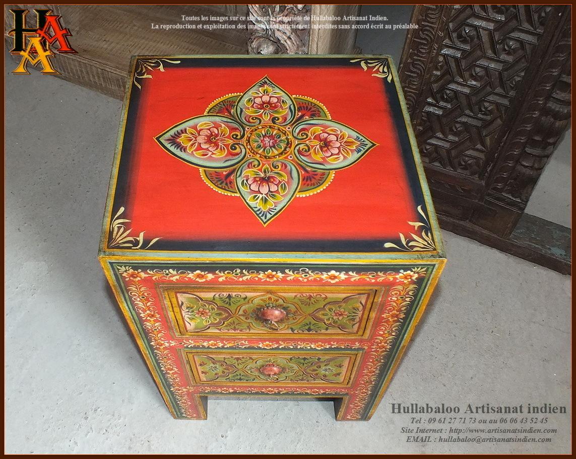 Chevet indien peint jn9 cav42 meubles indiens artisanat for Meuble indien