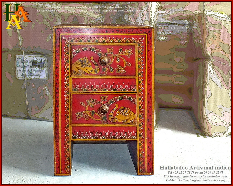 Chevet indien peint jn9 cav43 meubles indiens artisanat for Artisan du meuble