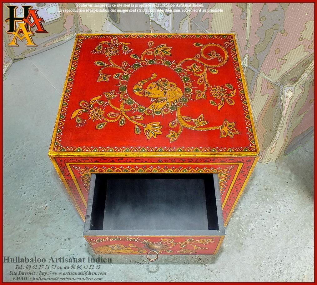 Chevet indien peint jn9 cav43 meubles indiens artisanat for Les artisans du meuble