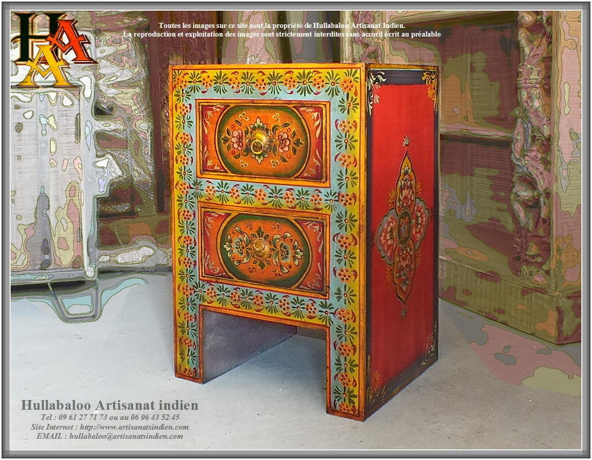 Chevet indien peint jn9 cav44 meubles indiens artisanat - Chevet indien ...