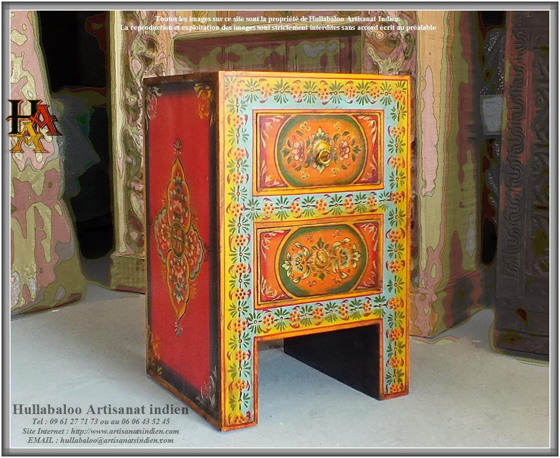 Chevet indien peint jn9 cav44 meubles indiens artisanat for Decoration meuble peint