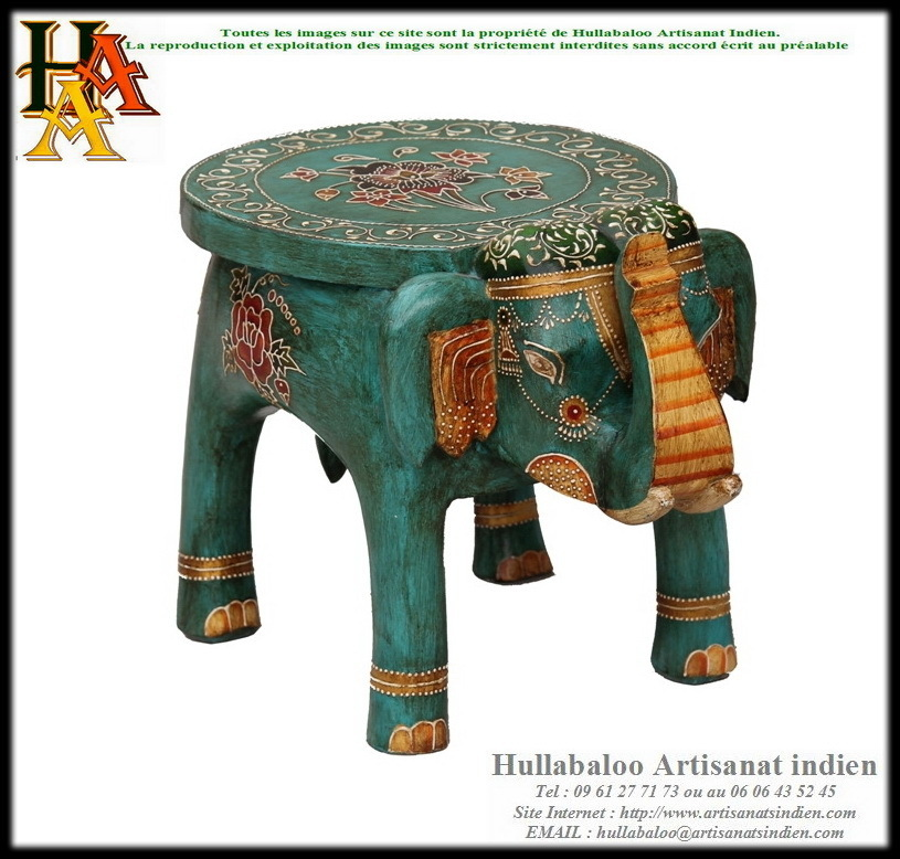 Table Basse Elephant Peinte Jn9-Cav46, Meubles Indiens, Artisanat