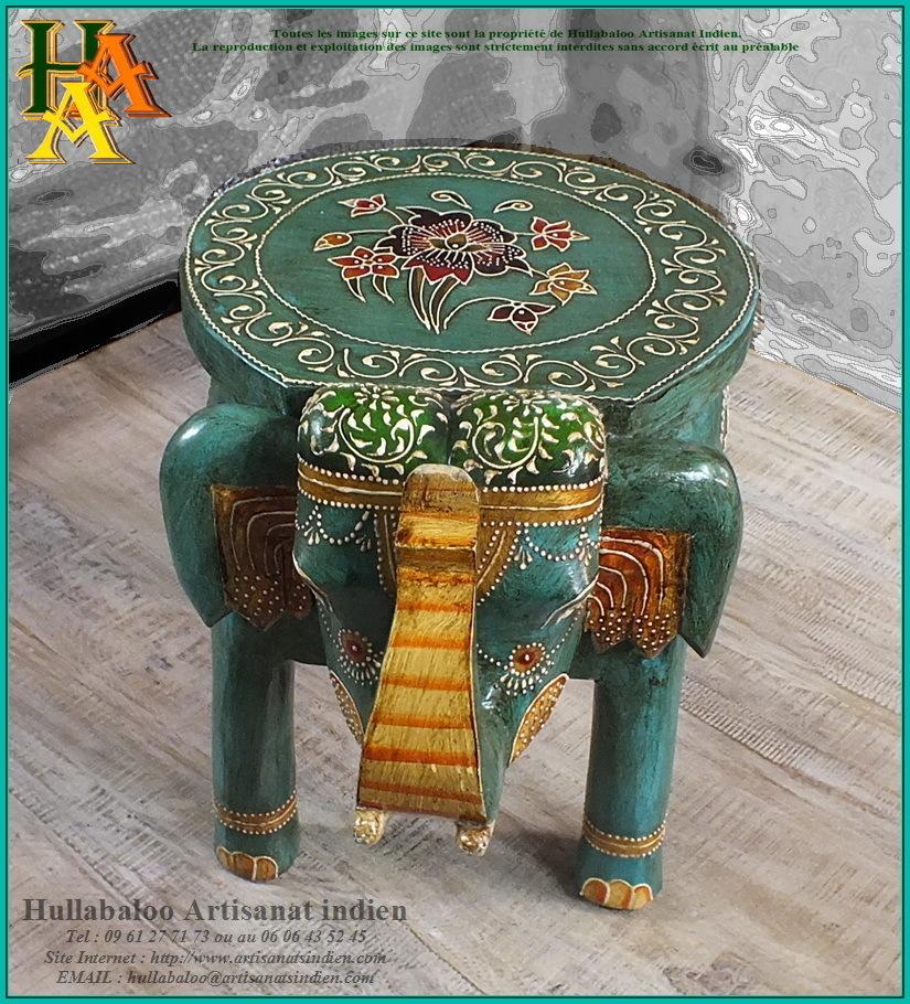 table basse elephant peinte jn9 cav46 meubles indiens artisanat. Black Bedroom Furniture Sets. Home Design Ideas