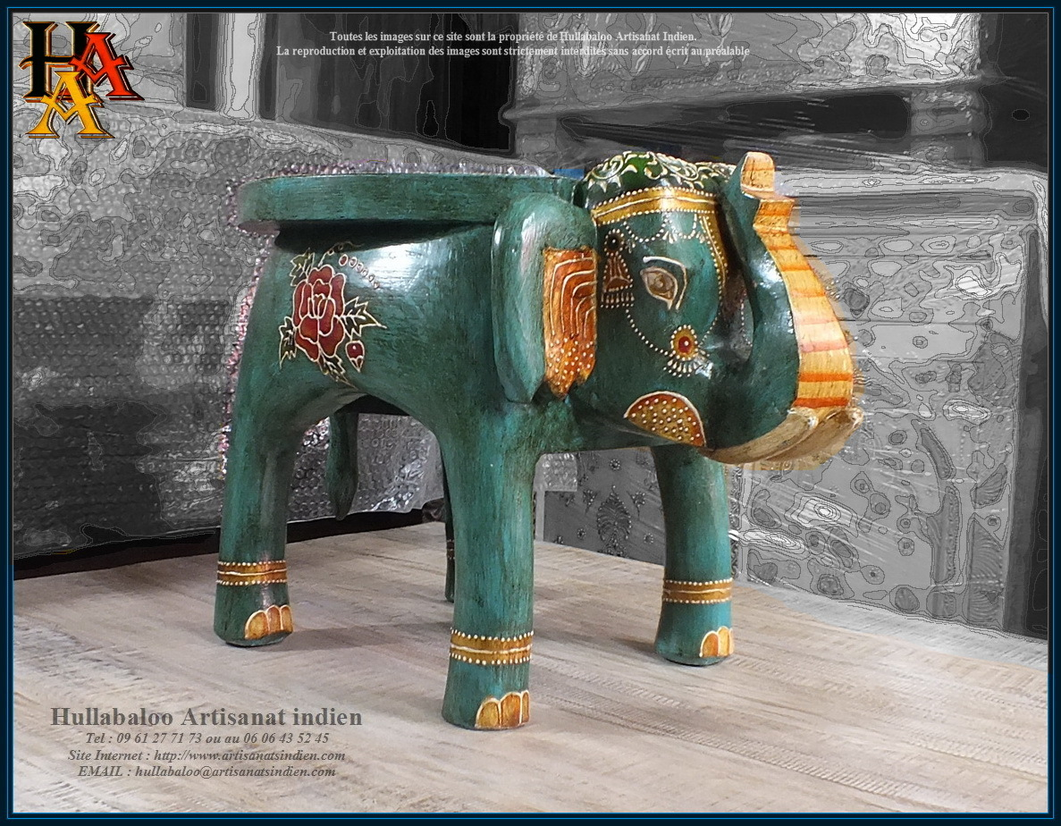table basse elephant peinte jn9 cav46 meubles indiens artisanat. Black Bedroom Furniture Sets. Home Design Ideas